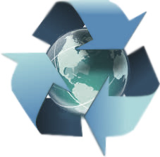 Recycle logo around a globe
